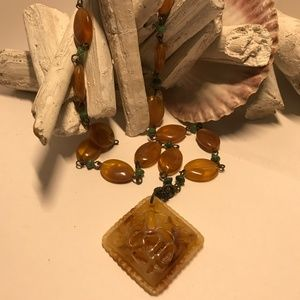 Pretty Amber and Green Coloured  Necklace